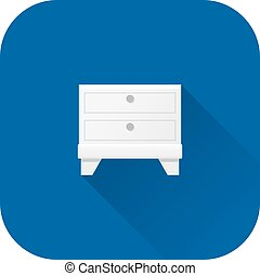 Bedside table icon. Vector. Flat design with long shadow.