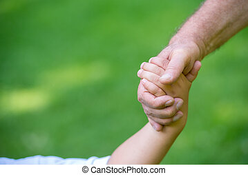 bedstefaderen, barn, morskab, garden, park
