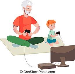 bedstefaderen, og, dreng, boldspil spille video