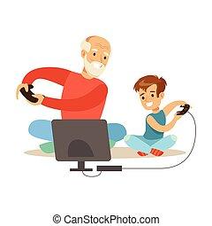 bedstefaderen, og, dreng, boldspil spille video, noget af, grandparents, have morskab, hos, grandchildren, series
