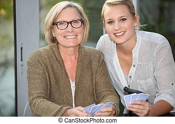bedstemoderen, cards, granddaughter, spille