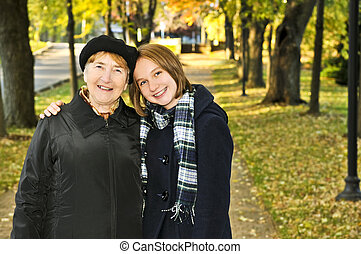 bedstemoderen, gå, granddaughter
