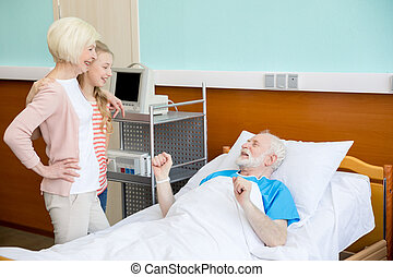 bedstemoderen, granddaughter, patient, besøge