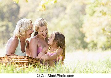 bedstemoderen, skovtur, datter, voksen, barnebarn
