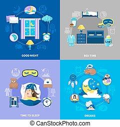 Bedtime 4 Flat Icons Square - Bedtime sleep 4 flat icons...
