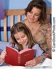 Bedtime Bible Story2 - A mother and daughter reading bible...