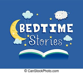 Storybook Illustration Featuring an Open Book with a Moon, Stars, Clouds, and Sheep Hovering Over It