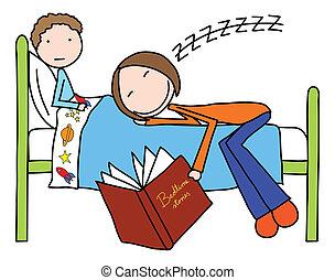 Bedtime stories - Illustration of mother felt asleep while...