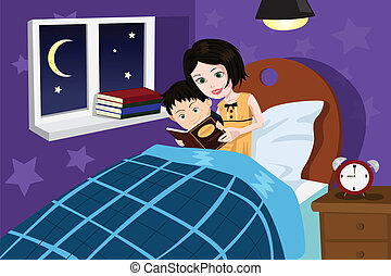 A vector illustration of a mother reading bedtime story to her son