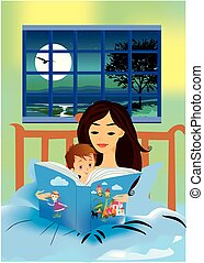 bedtime story - composition with my mother, who reads a...