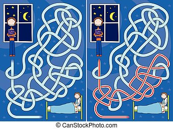 Bedtime story maze for kids with a solution
