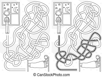Bedtime story maze for kids with a solution in black and...