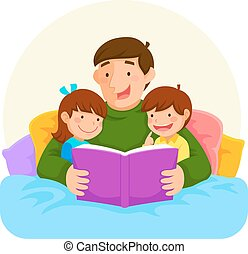 bedtime story with dad - Young father reading a book to...