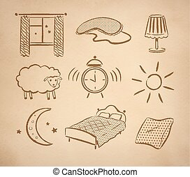 Bedtime vector set. - Bedtime hand drawn vector set on...