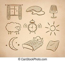 Bedtime vector set. - Bedtime hand drawn vector set on ...