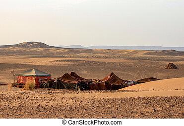 beduíno, deserto, acampamento