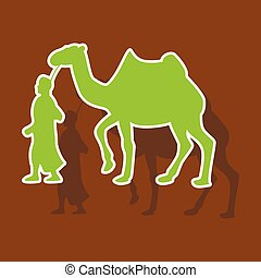 beduíno, negócio, camelo, adesivo, tema, papel, árabe