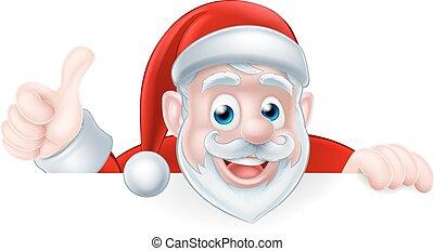 beduimelt omhoog, kerstman, spotprent