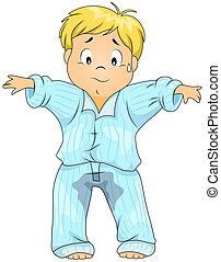 Bedwetting - Illustration of a Kid Who Wet His Pajamas