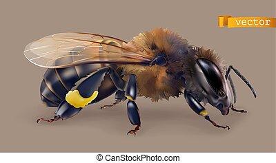 Bee. 3d realistic vector icon