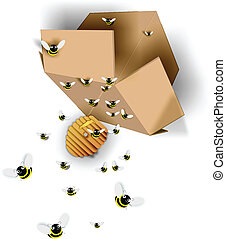 Bee accidents happen - A box of bees and their hive...