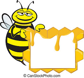 bee and blank signboard - honeycomb and the honey bee and an...