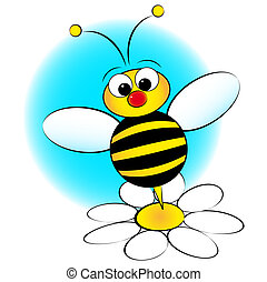 Bee and daisy - Kid Illustration - Bee and daisy - Card for...
