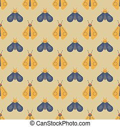 Bee and firefly seamless pattern. Horizontal orderly design...