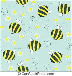 Seamless of bee and flower. Vector art.