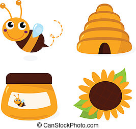 Bee and honey icons set isolated on white - Cute Bee and...