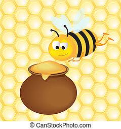 Bee and Honey Pot vector illustaration eps 10