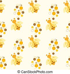 Bee and honeycomb. Illustration. Pattern.