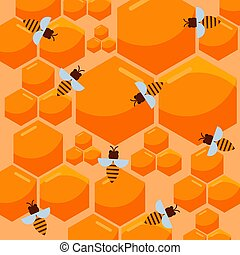 Bee and honeycomb vector pattern. Beekeeping and apiary theme with yellow honeycomb full of honey and cartoon bees. Bee-house repeating illustration.