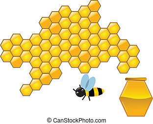 Bee and honeycombs - Little bee fly to honeycoms for make...