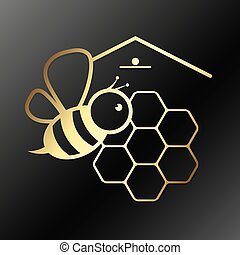 Bee and honeycombs symbol - Bee and honeycombs vector symbol...