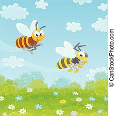 Bee and Wasp flying over a field