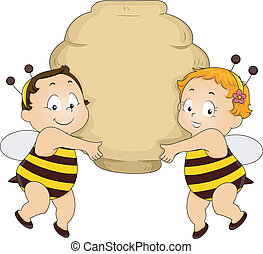 Bee Babies holding a Beehive