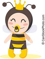 Bee Baby Girl - Cute sweet baby girl wearing queen bee...