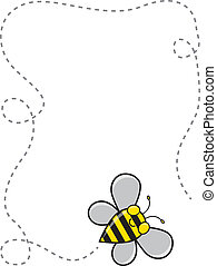 A cute cartoon bee flying around to create a dotted line border.