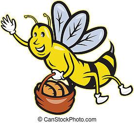 Bee Carrying Basket Bread Loaf Cartoon
