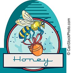 Illustration of a worker honey bee carrying a honey pot with ribbon with skep in the background set inside circle and the word Honey in the bottom done in retro style.