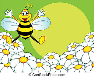 bee cartoon - bee on the flower field