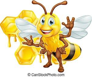 Bee Cartoon Character With Honeycomb