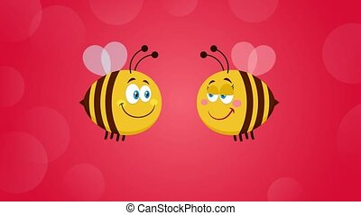 Bee Cartoon Characters Couple In Love. 4K Animation Video Motion Graphics With Background And Text