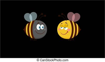 Bee Cartoon Characters Couple In Love. 4K Animation Video Motion Graphics Without Background