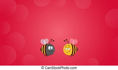 Bee Cartoon Characters Couple In Love With Flower Heart And Text. 4K Animation Video Motion Graphics With Red Background