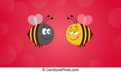Bee Cartoon Characters Couple In Love With Text. 4K Animation Video Motion Graphics With Red Background