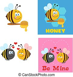Bee Cartoon Characters. Flat Vector Collection Set