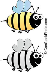 Bee cartoon color and black-white
