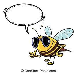bee Cartoon image - Cartoon image of bee wearing sunglasses...